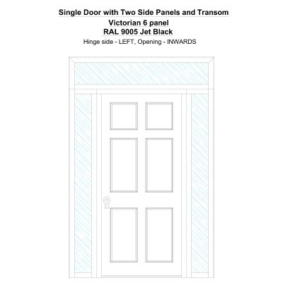 Sd2spt Victorian 6 Panel Ral 9005 Jet Black Security Door
