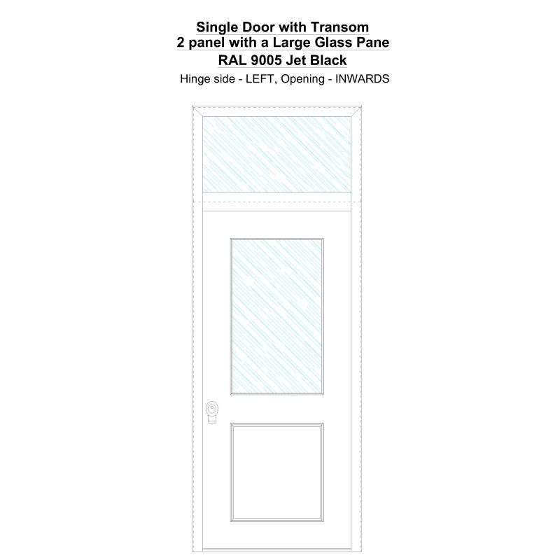 Sdt 2 Panel With A Large Glass Pane Ral 9005 Jet Black Security Door