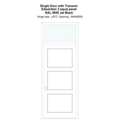 Sdt Edwardian 3 Equal Panel Ral 9005 Jet Black Security Door
