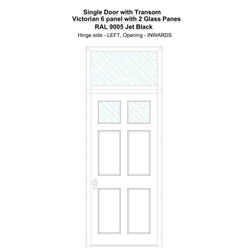 Sdt Victorian 6 Panel With 2 Glass Panes Ral 9005 Jet Black Security Door