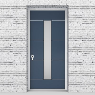 10.single Door 4 Aluminium Inlays With Central Glass Pigeon Blue (ral5014)