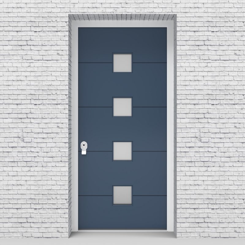 10.single Door 4 Horizontal Lines With 4 Glass Squares Pigeon Blue (ral5014)