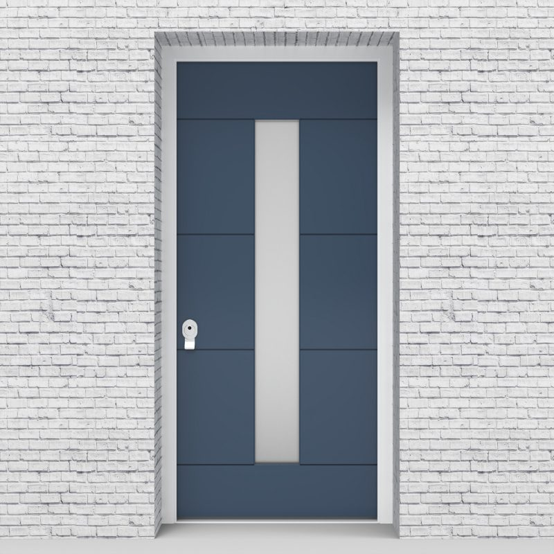 10.single Door 4 Horizontal Lines With Central Glass Pigeon Blue (ral5014)