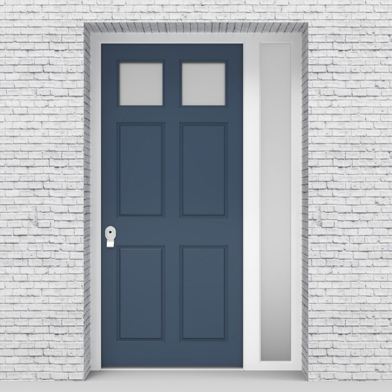 10.single Door With Right Side Panel Victorian 6 Panel With 2 Glass Panes Pigeon Blue (ral5014)