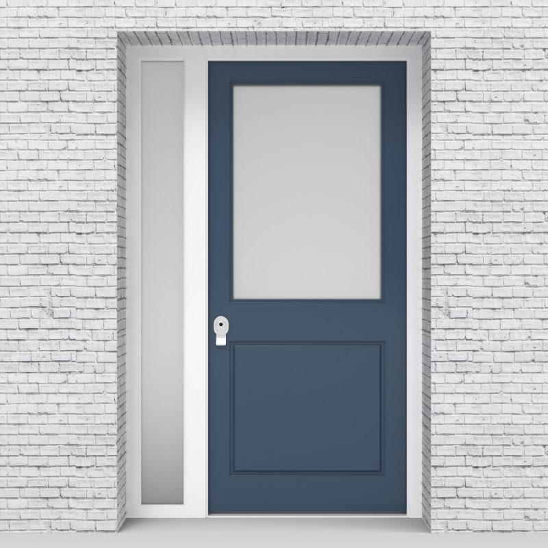 10.single Door With Left Side Panel 2 Panel With A Large Glass Pane Pigeon Blue (ral5014)