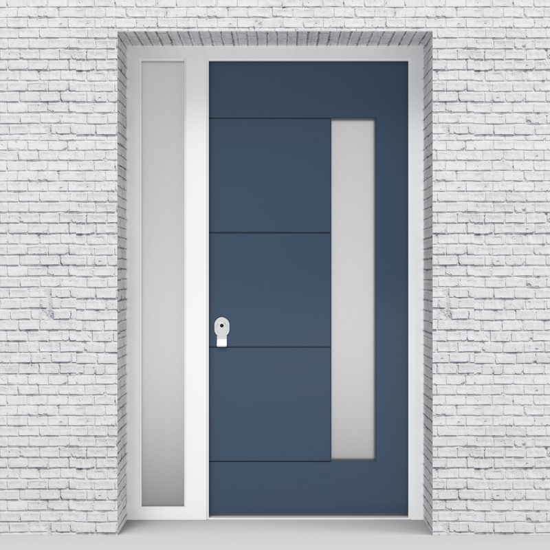 10.single Door With Left Side Panel 4 Horizontal Lines With Hinge Side Glass Pigeon Blue (ral5014)