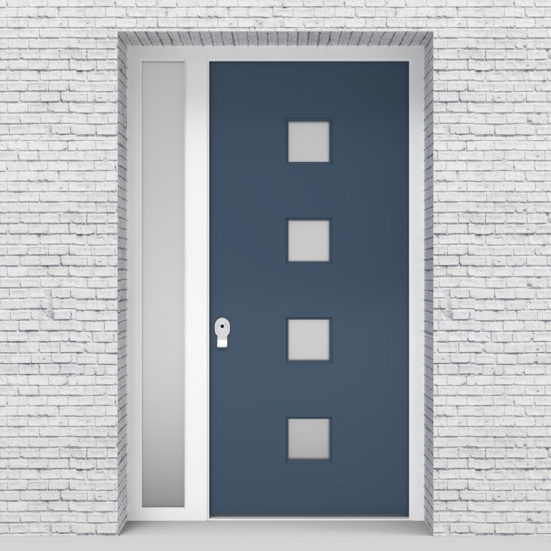 10.single Door With Left Side Panel Plain With 4 Glass Squares Pigeon Blue (ral5014)