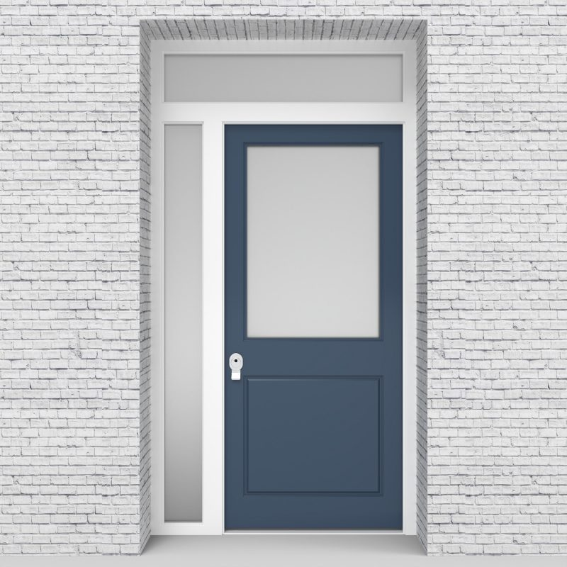 10.single Door With Left Side Panel And Transom 2 Panel With A Large Glass Pigeon Blue (ral5014)