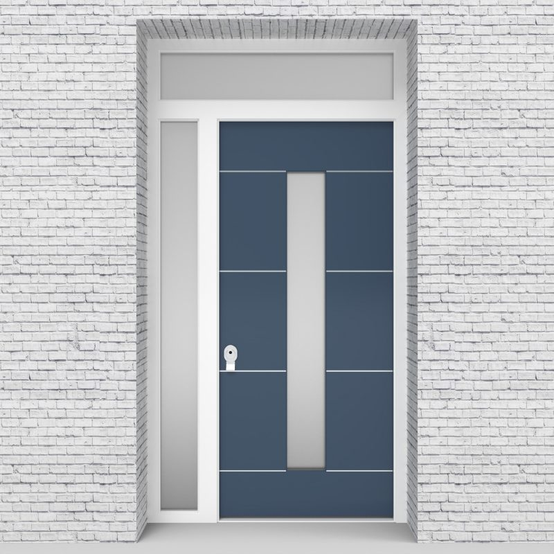 10.single Door With Left Side Panel And Transom 4 Aluminium Inlays With Central Glass Pigeon Blue (ral5014)