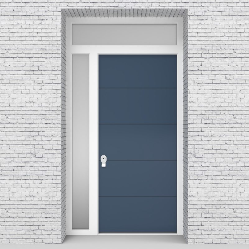10.single Door With Left Side Panel And Transom 4 Horizontal Lines Pigeon Blue (ral5014)
