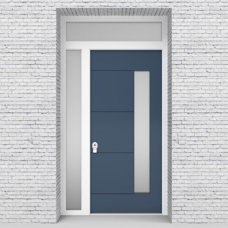 10.single Door With Left Side Panel And Transom 4 Horizontal Lines With Hinge Side Glass Pigeon Blue (ral5014)