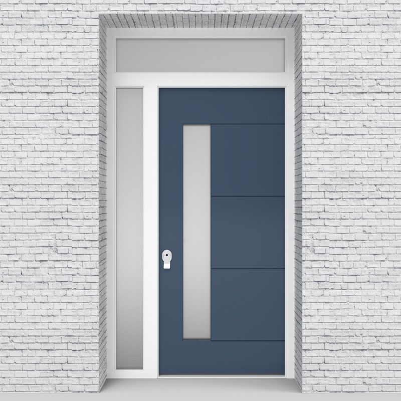 10.single Door With Left Side Panel And Transom 4 Horizontal Lines With Lock Side Glass Pigeon Blue (ral5014)