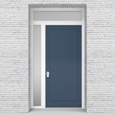 10.single Door With Left Side Panel And Transom One Panel Pigeon Blue (ral5014)