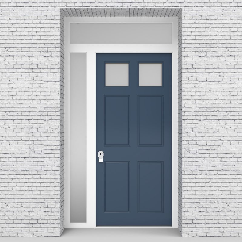 10.single Door With Left Side Panel And Transom Victorian 6 Panel With 2 Glass Panes Pigeon Blue (ral5014)