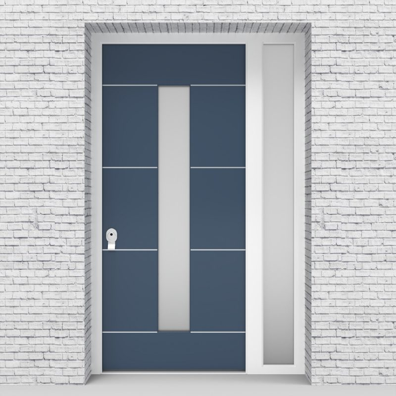 10.single Door With Right Side Panel 4 Aluminium Inlays With Central Glass Pigeon Blue (ral5014)