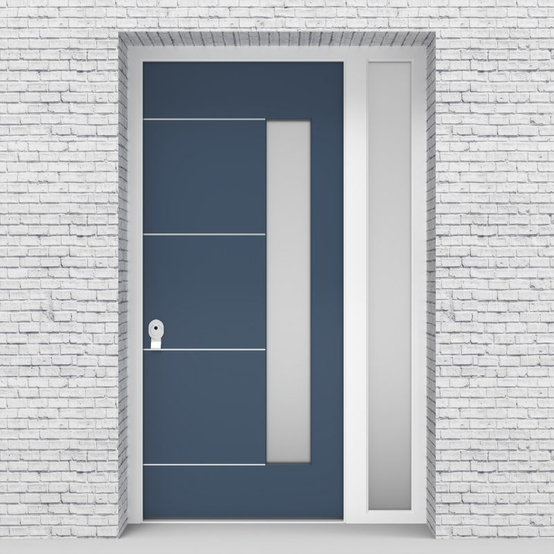 10.single Door With Right Side Panel 4 Aluminium Inlays With Hinge Side Glass Pigeon Blue (ral5014)