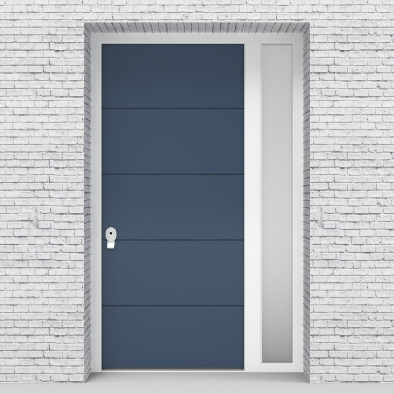 10.single Door With Right Side Panel 4 Horizontal Lines Pigeon Blue (ral5014)