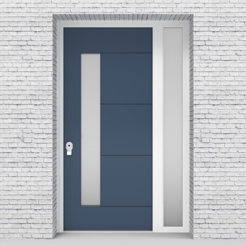 10.single Door With Right Side Panel 4 Horizontal Lines With Lock Side Glass Pigeon Blue (ral5014)