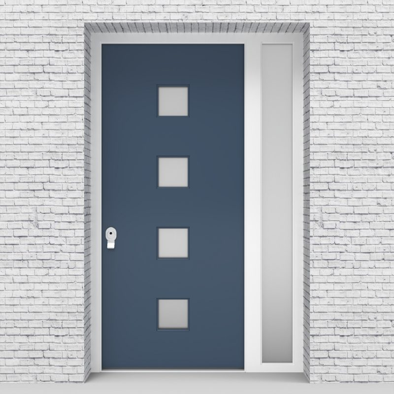 10.single Door With Right Side Panel Plain With 4 Glass Squares Pigeon Blue (ral5014)