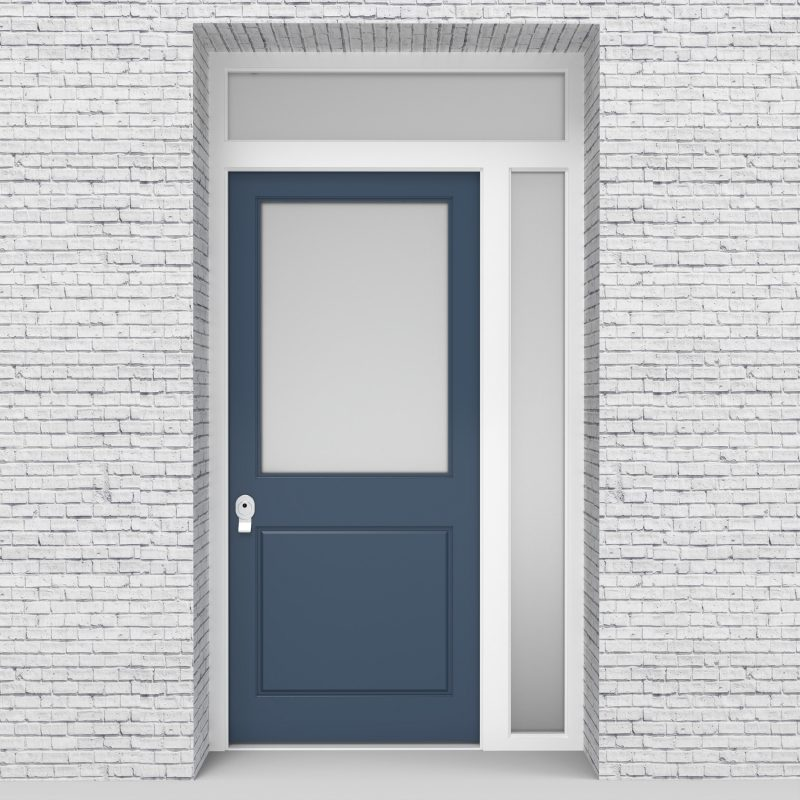 10.single Door With Right Side Panel And Transom 2 Panel With A Large Pigeon Blue (ral5014)