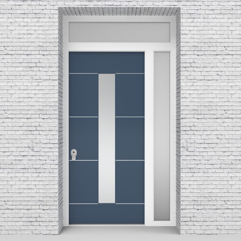 10.single Door With Right Side Panel And Transom 4 Aluminium Inlays With Central Glass Pigeon Blue (ral5014)
