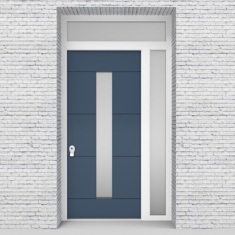 10.single Door With Right Side Panel And Transom 4 Horizontal Lines With Central Glass Pigeon Blue (ral5014)