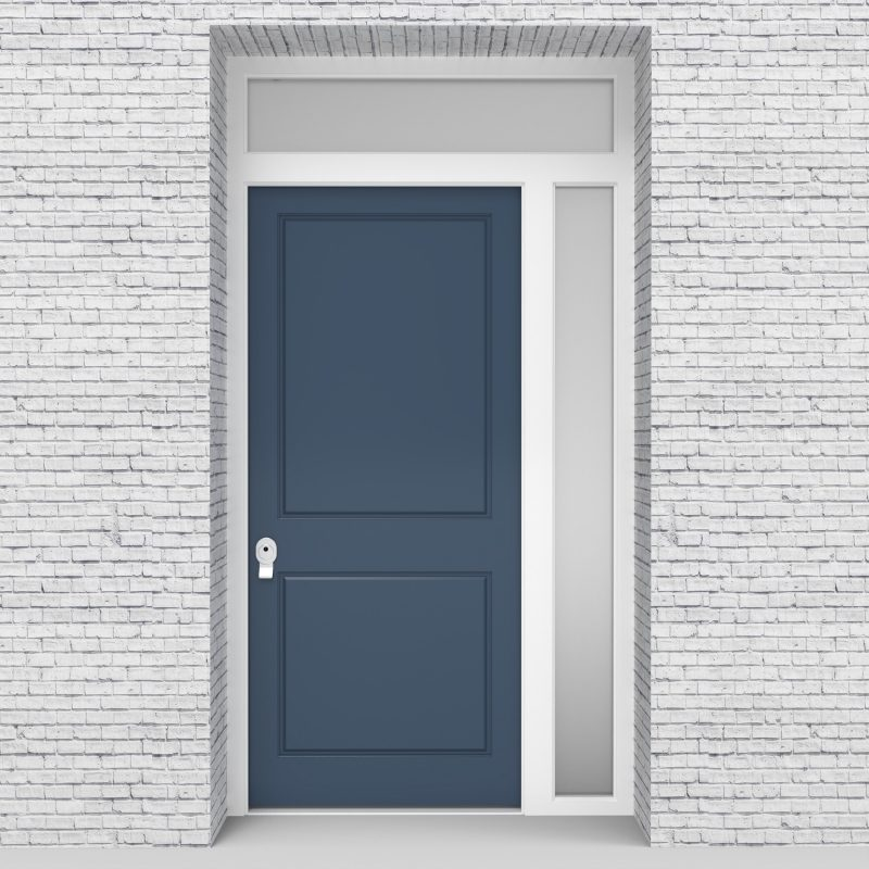 10.single Door With Right Side Panel And Transom Two Panel Pigeon Blue (ral5014)