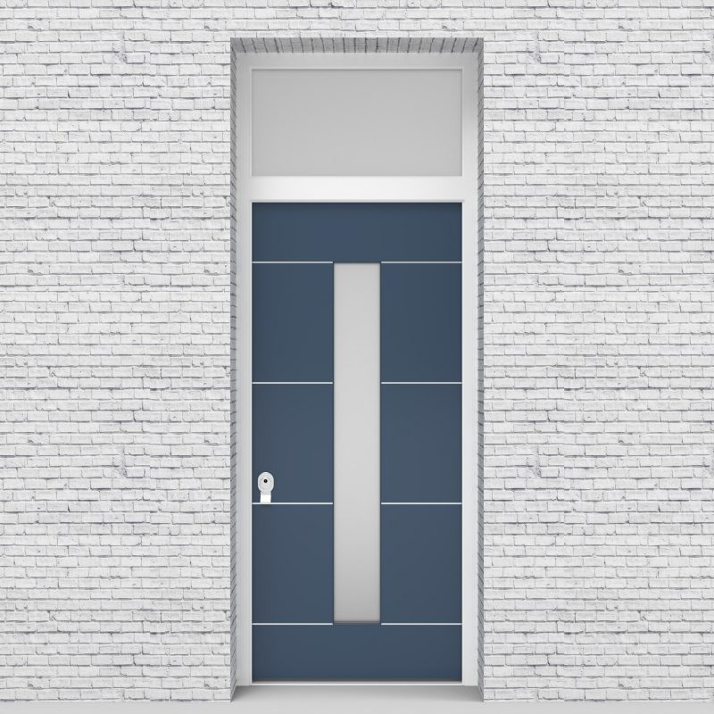 10.single Door With Transom 4 Aluminium Inlays With Central Glass Pigeon Blue (ral5014)