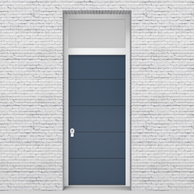 10.single Door With Transom 4 Horizontal Lines Pigeon Blue (ral5014)