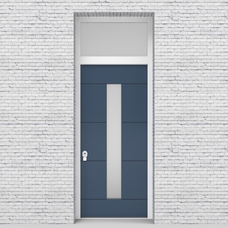 10.single Door With Transom 4 Horizontal Lines With Central Glass Pigeon Blue (ral5014)