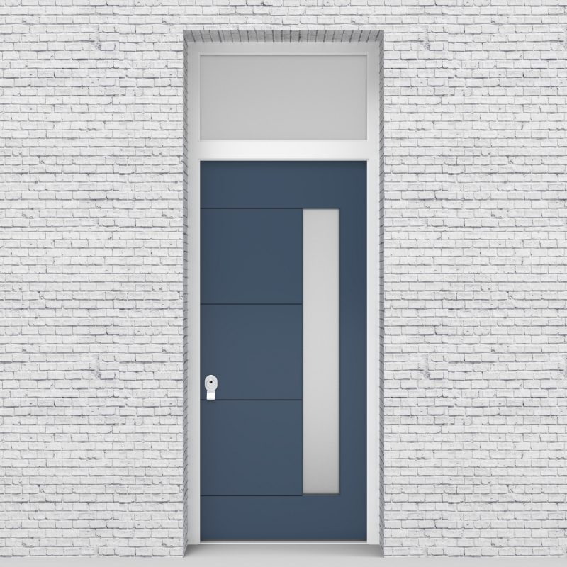 10.single Door With Transom 4 Horizontal Lines With Hinge Side Glass Pigeon Blue (ral5014)
