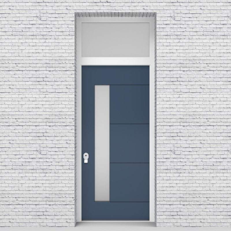 10.single Door With Transom 4 Horizontal Lines With Lock Side Glass Pigeon Blue (ral5014)