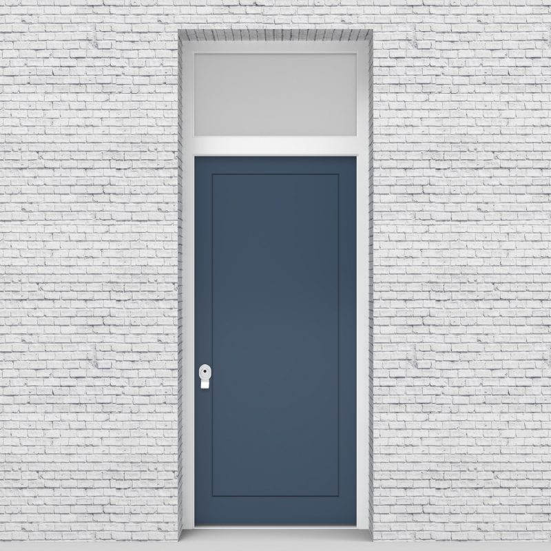 10.single Door With Transom One Panel Pigeon Blue (ral5014)