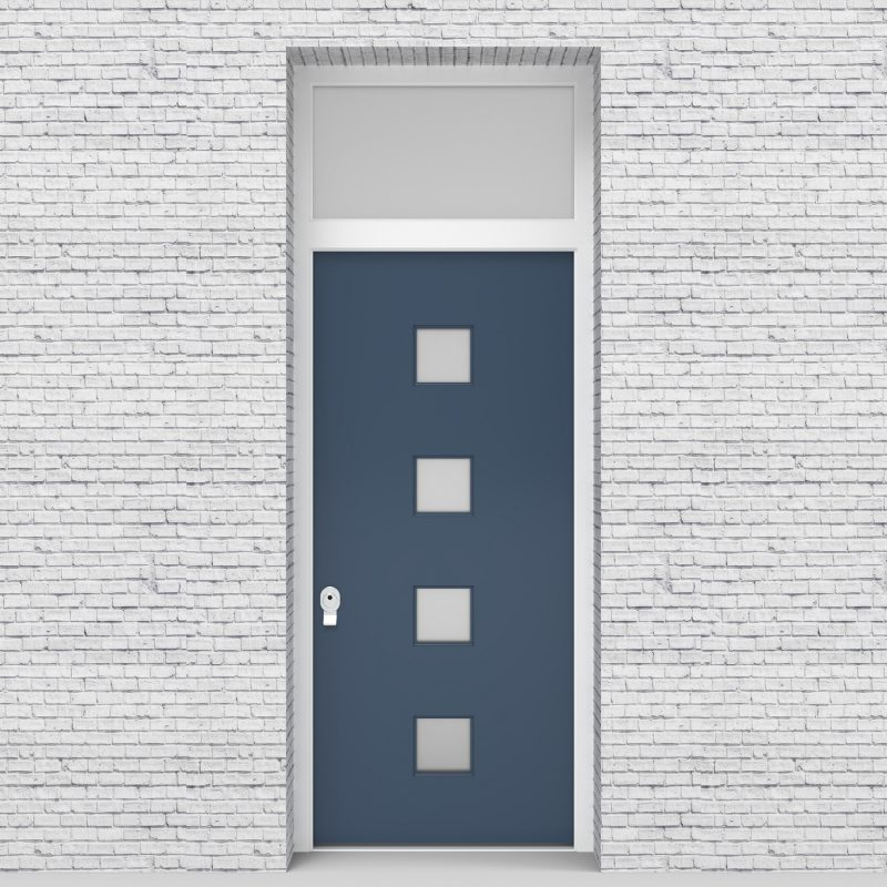 10.single Door With Transom Plain With 4 Glass Squares Pigeon Blue (ral5014)