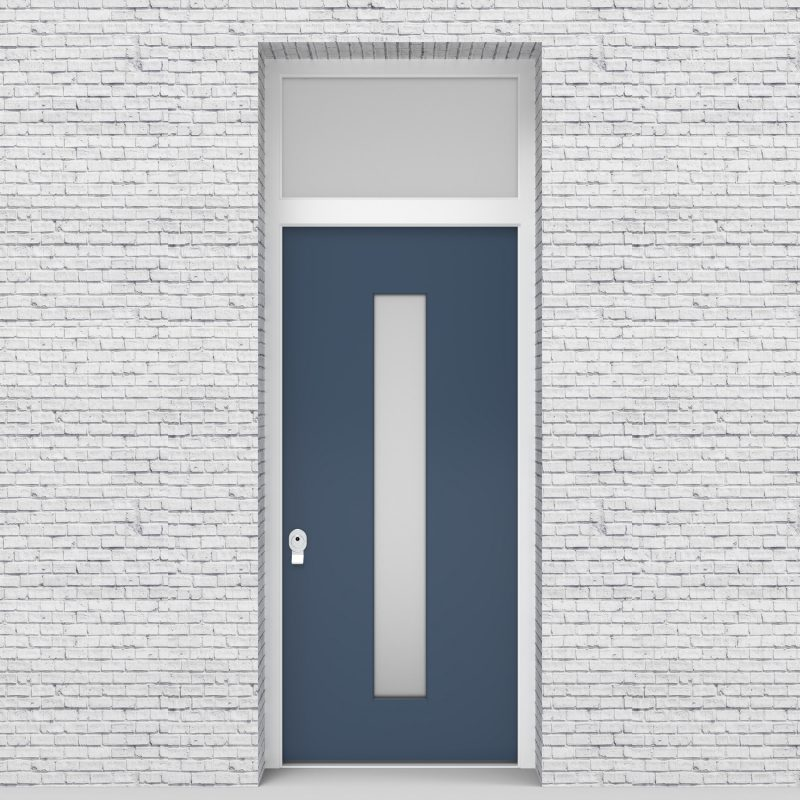 10.single Door With Transom Plain With Central Glass Pigeon Blue (ral5014)