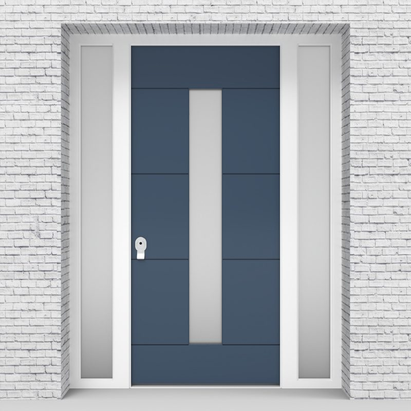 10.single Door With Two Side Panels 4 Horizontal Lines With Central Glass Pigeon Blue (ral5014)