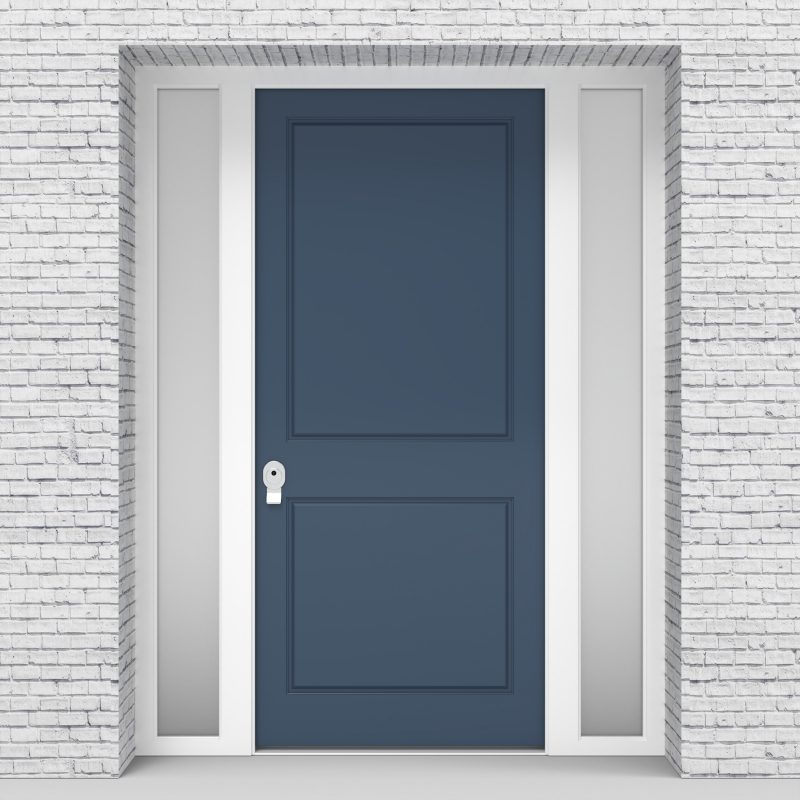 10.single Door With Two Side Panels Two Panel Pigeon Blue (ral5014)