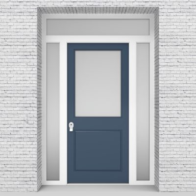 10.single Door With Two Side Panels And Transom 2 Panel With A Large Pigeon Blue (ral5014)
