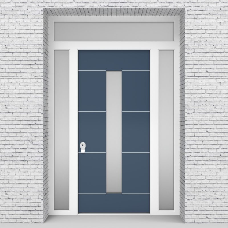 10.single Door With Two Side Panels And Transom 4 Aluminium Inlays With Central Glass Pigeon Blue (ral5014)