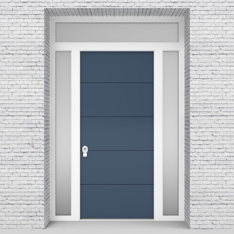 10.single Door With Two Side Panels And Transom 4 Horizontal Lines Pigeon Blue (ral5014)