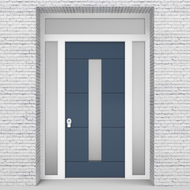 10.single Door With Two Side Panels And Transom 4 Horizontal Lines With Central Glass Pigeon Blue (ral5014)