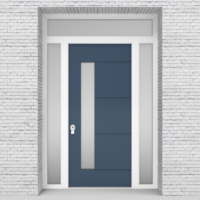 10.single Door With Two Side Panels And Transom 4 Horizontal Lines With Lock Side Glass Pigeon Blue (ral5014)