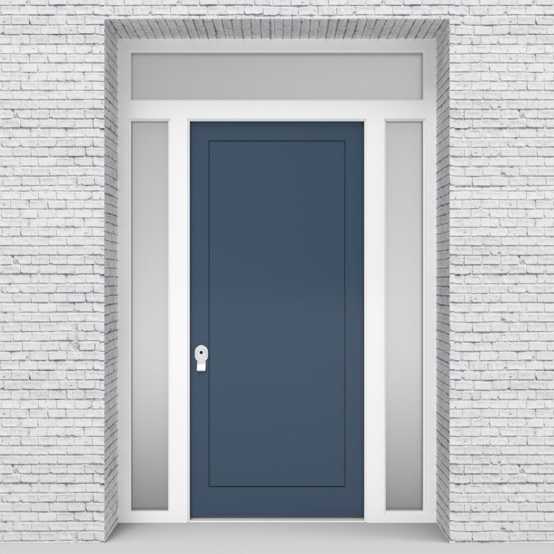 10.single Door With Two Side Panels And Transom One Panel Pigeon Blue (ral5014)
