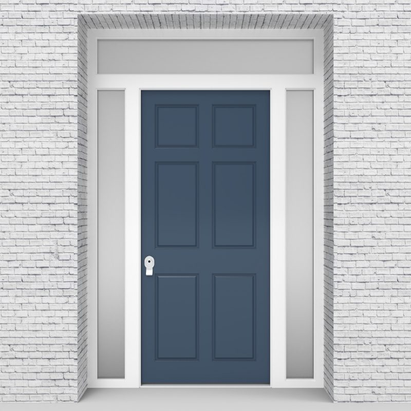 10.single Door With Two Side Panels And Transom Victorian 6 Panel Pigeon Blue (ral5014)