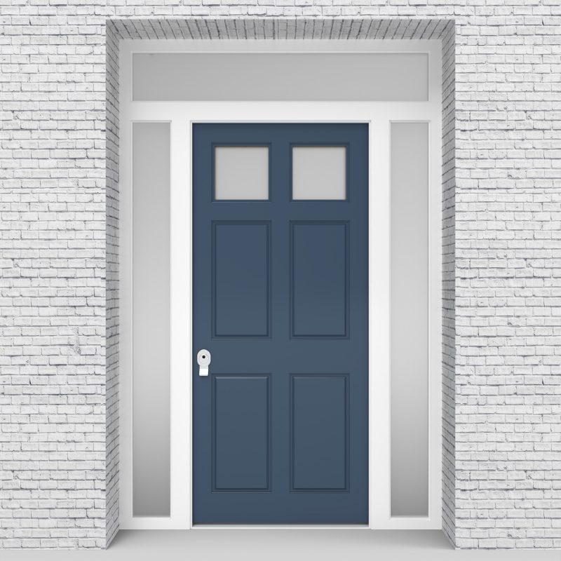10.single Door With Two Side Panels And Transom Victorian 6 Panel With 2 Glass Pigeon Blue (ral5014)