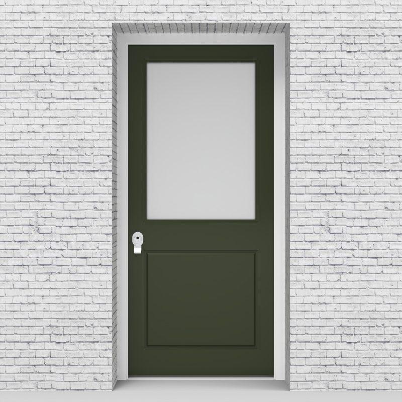 11.single Door 2 Panel With A Large Glass Pane Fir Green (ral6009)