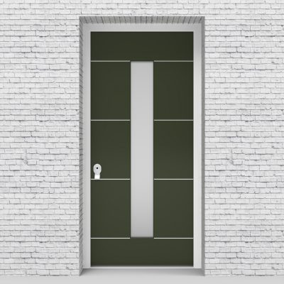 11.single Door 4 Aluminium Inlays With Central Glass Fir Green (ral6009)