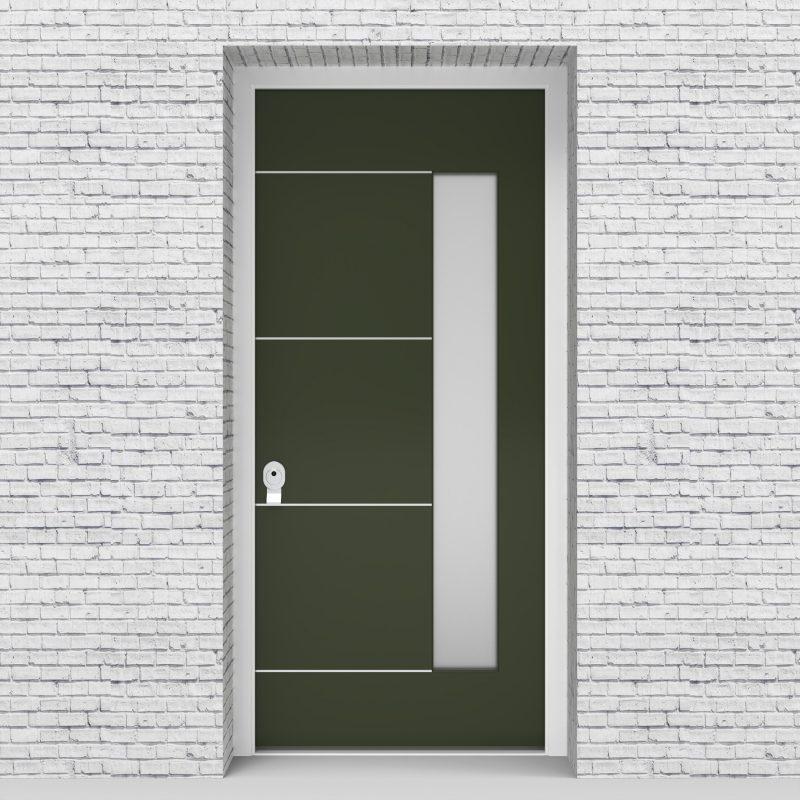 11.single Door 4 Aluminium Inlays With Hinge Side Glass Fir Green (ral6009)