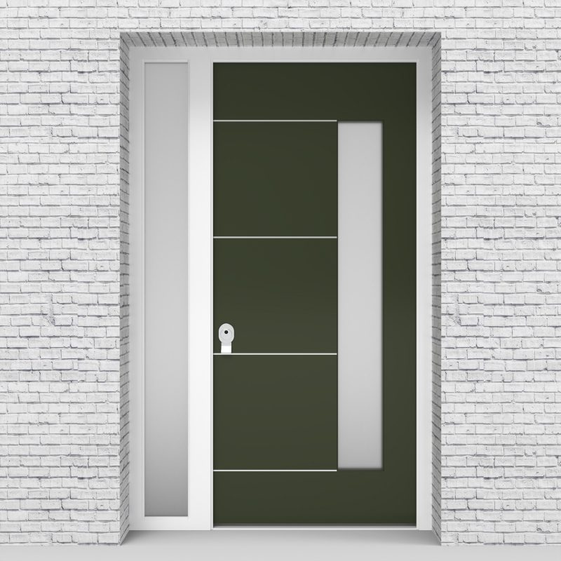 11.single Door With Left Side Panel 4 Aluminium Inlays With Hinge Side Glass Fir Green (ral6009)