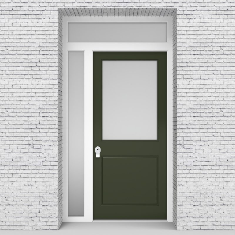 11.single Door With Left Side Panel And Transom 2 Panel With A Large Glass Fir Green (ral6009)